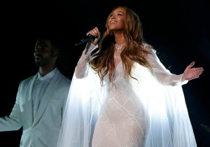 "Beyonce performs ""Take My Hand"" at the 57th annual Grammy Awards in Los Angeles"