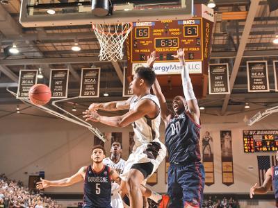 Men's basketball: Bonnies down Dukes in tournament-likeatmosphere